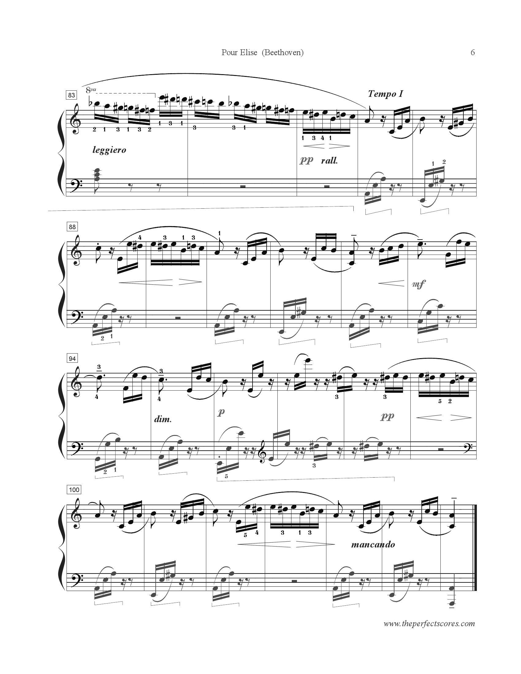 Beethoven Fur elise6 - نت آهنگ Fur elise از Beethoven
