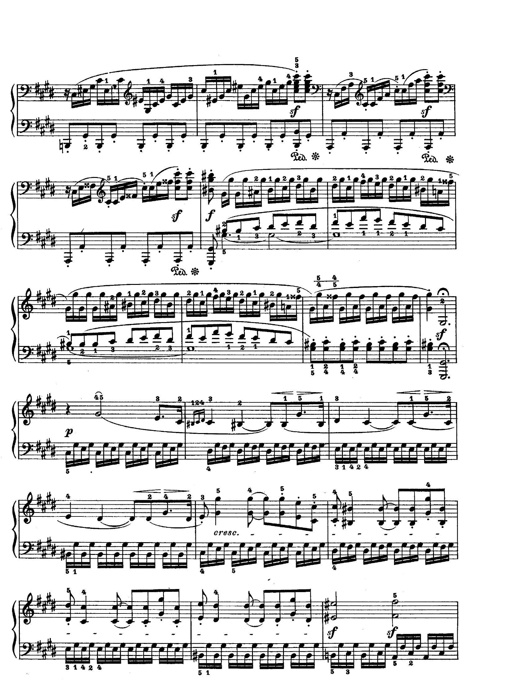 Beethoven Moonlight mov 36 - نت آهنگ Moonlight mov 3 از Beethoven