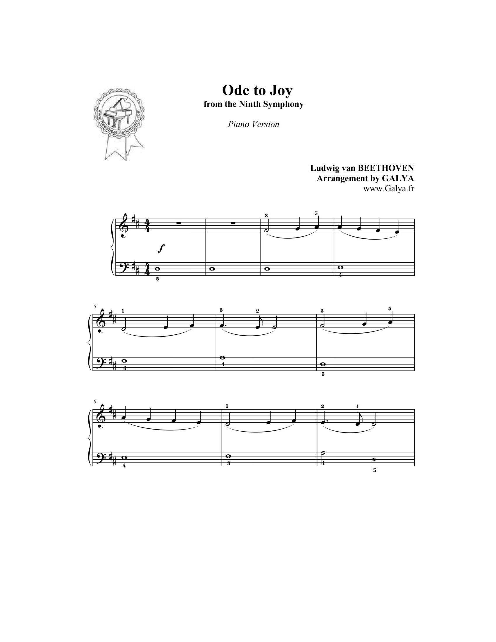 Beethoven Ode to joy1 - نت آهنگ Ode to joy از Beethoven