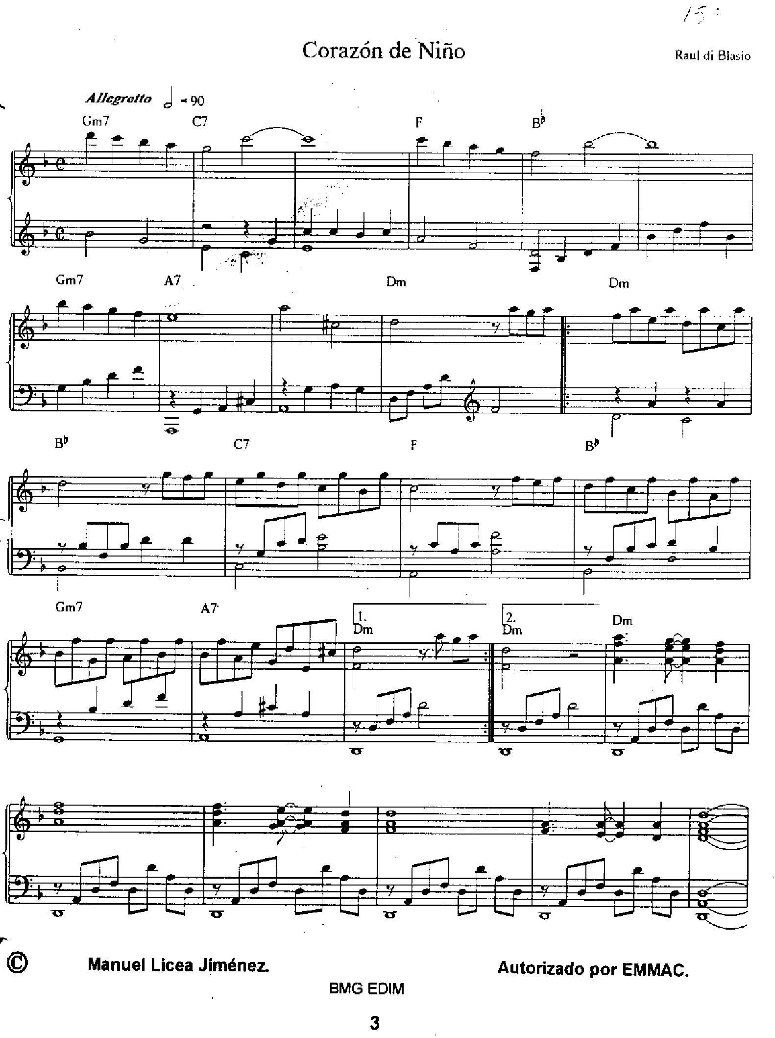 Blasio Corazon de nino1 - نت آهنگ Corazon de nino از Blasio