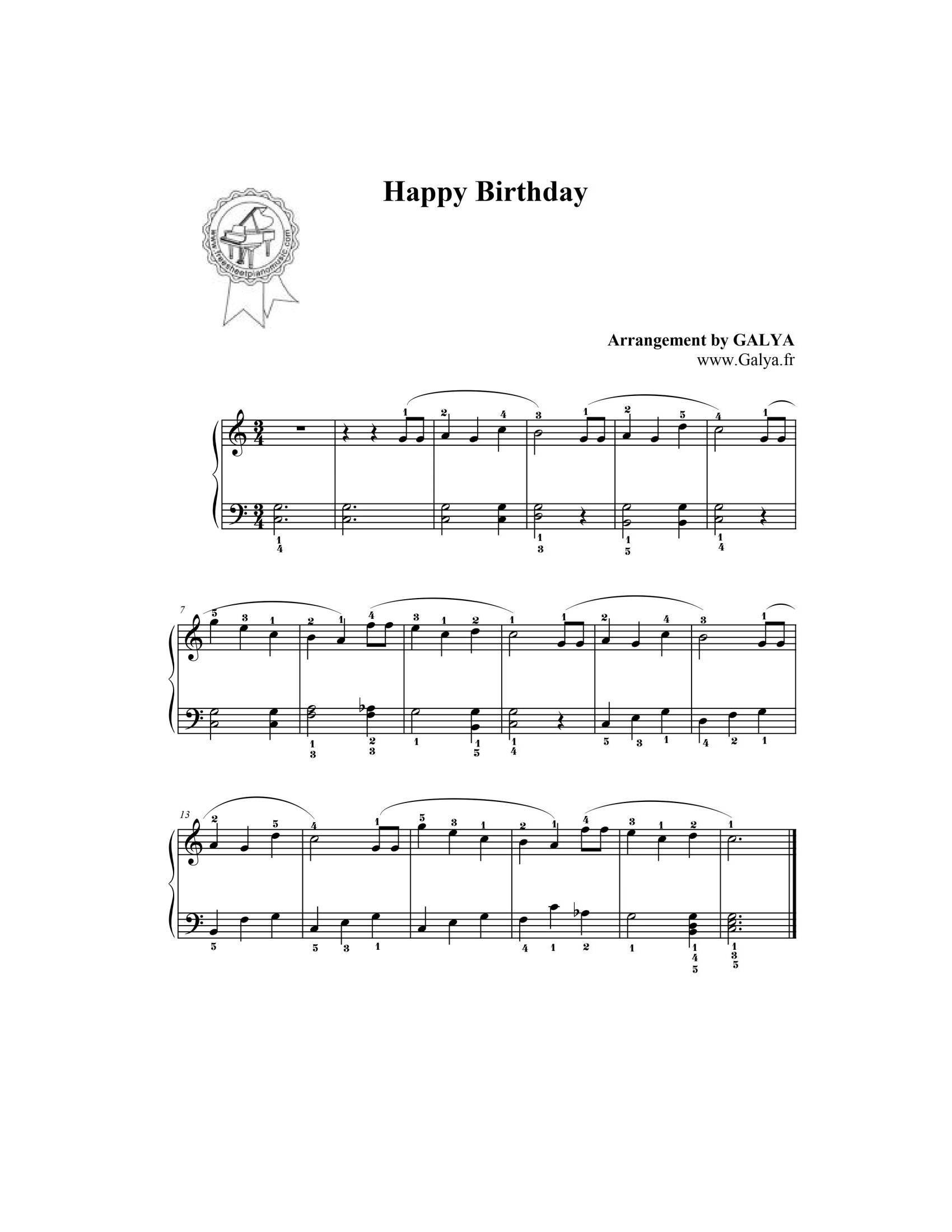 Happy birthday - نت آهنگ Happy birthday