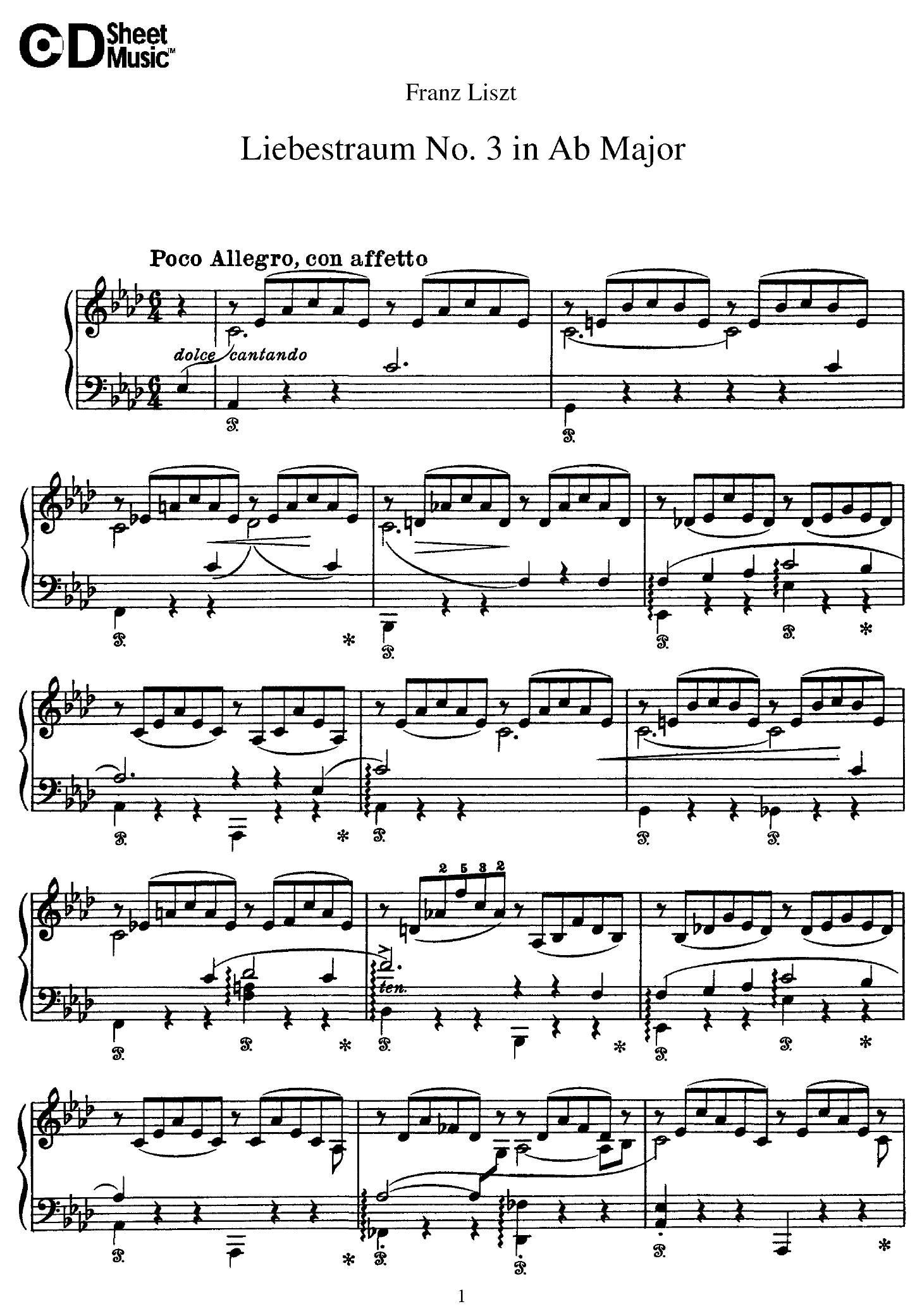 Liszt Liebestraum1 - نت آهنگ Liebestraum از Liszt