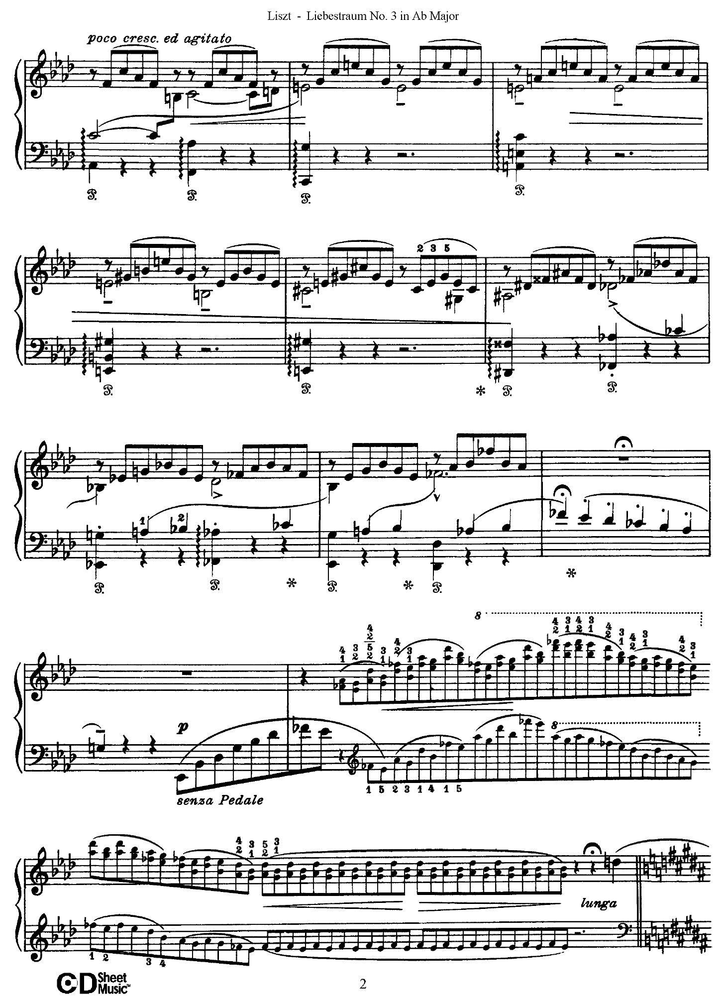 Liszt Liebestraum2 - نت آهنگ Liebestraum از Liszt