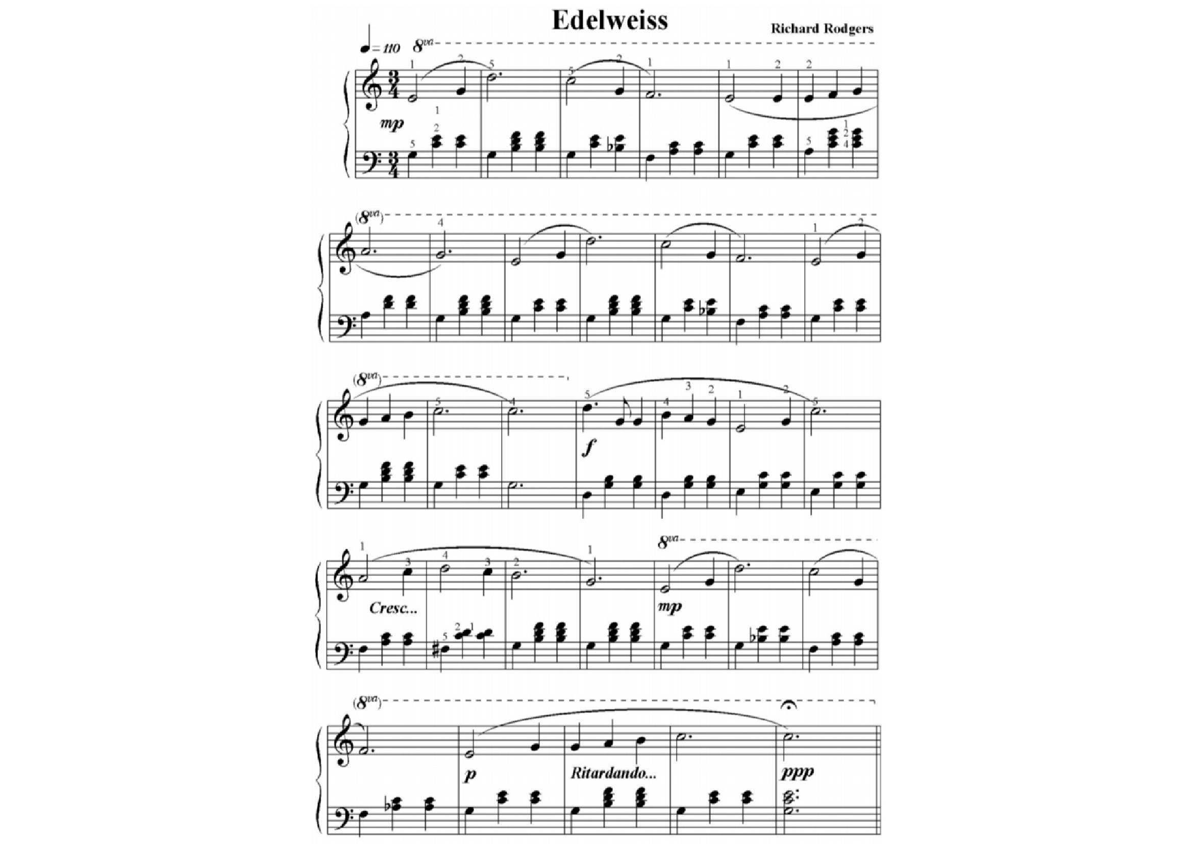 Richard roger Edelweiss - نت آهنگ Edelweiss از Richard roger