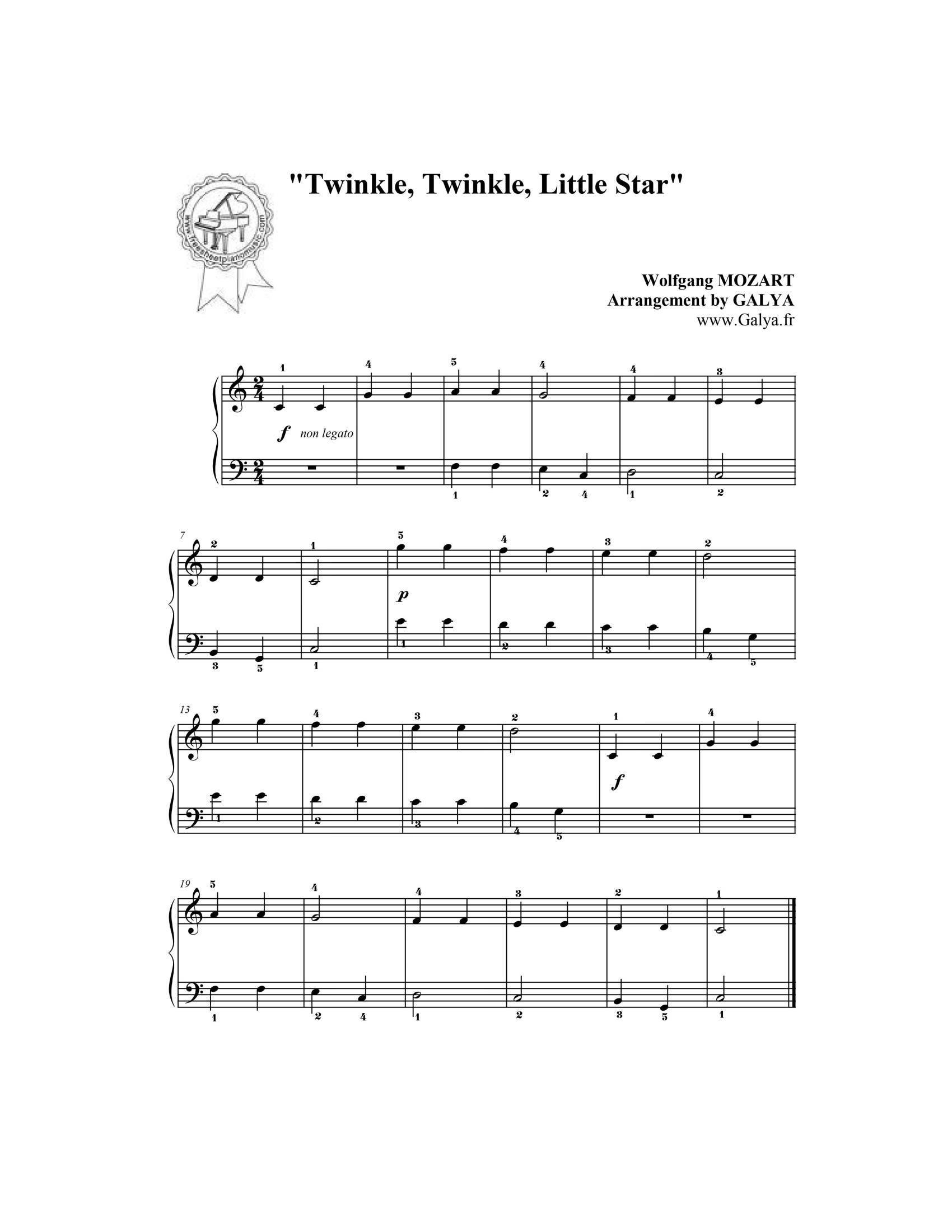Twinkle twinkle little star - نت آهنگ Twinkle twinkle little star