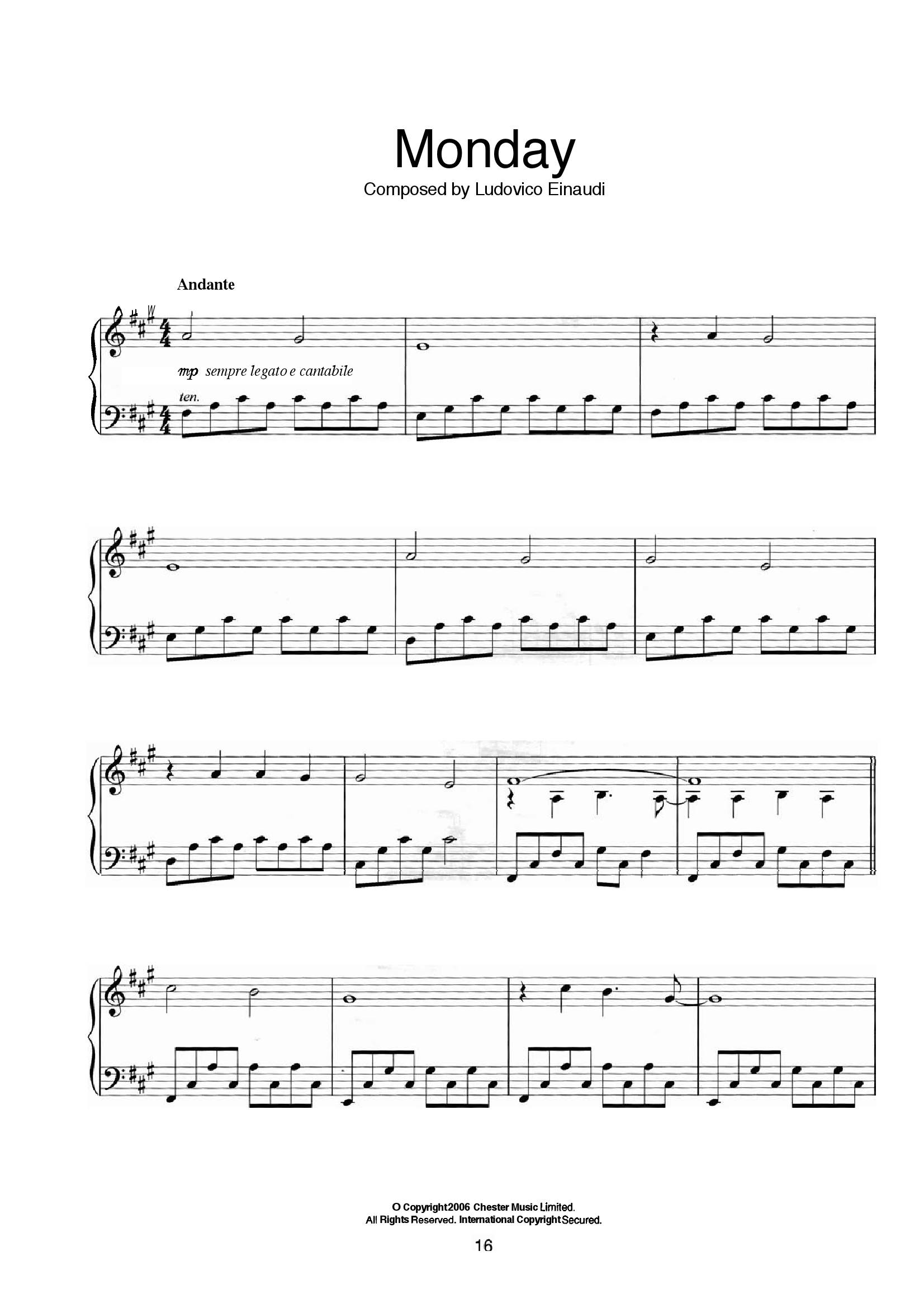 Einaudi Monday1 - نت آهنگ Monday از Einaudi