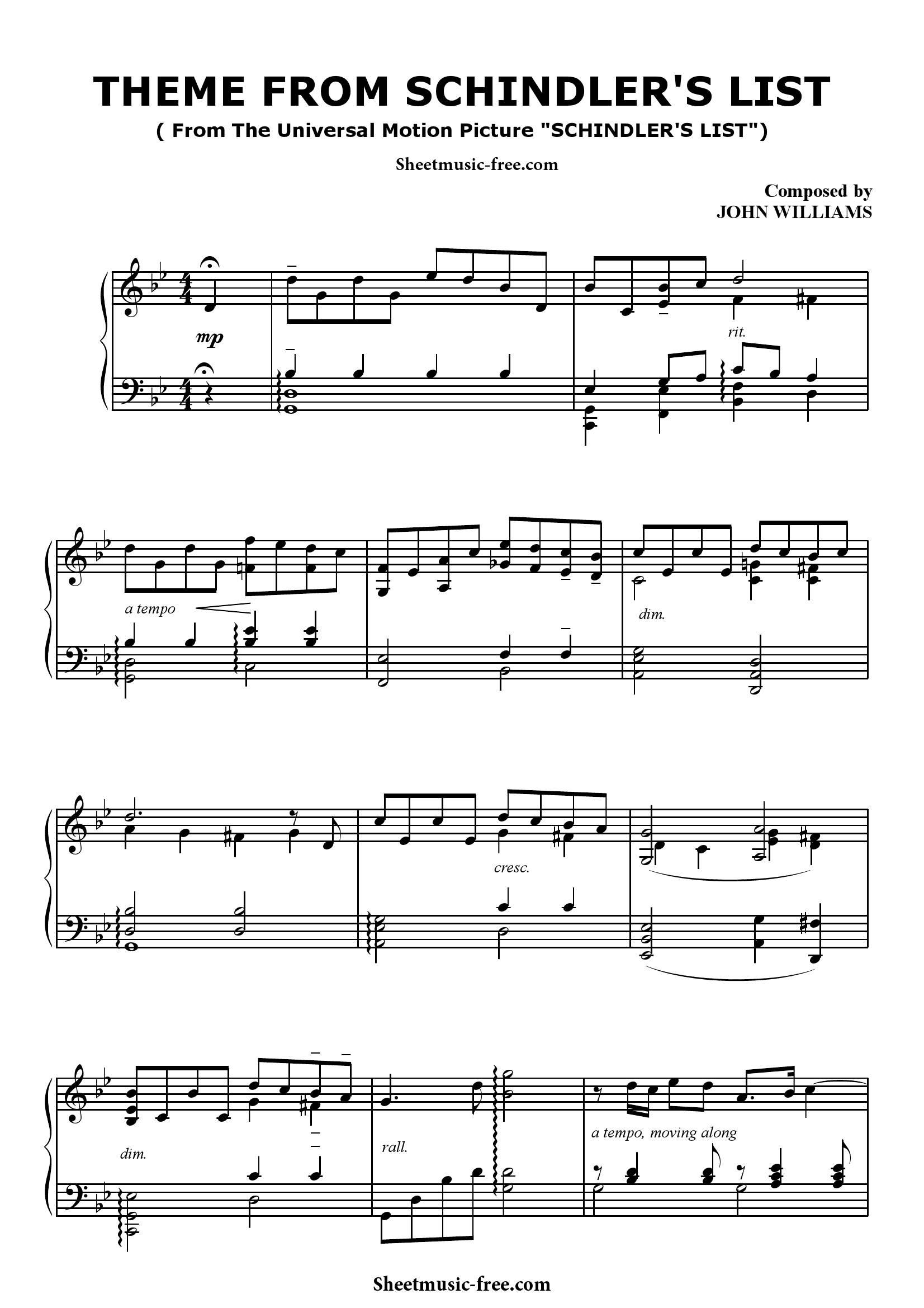 John williams Schindlers List1 - نت آهنگ Schindlers List از John williams