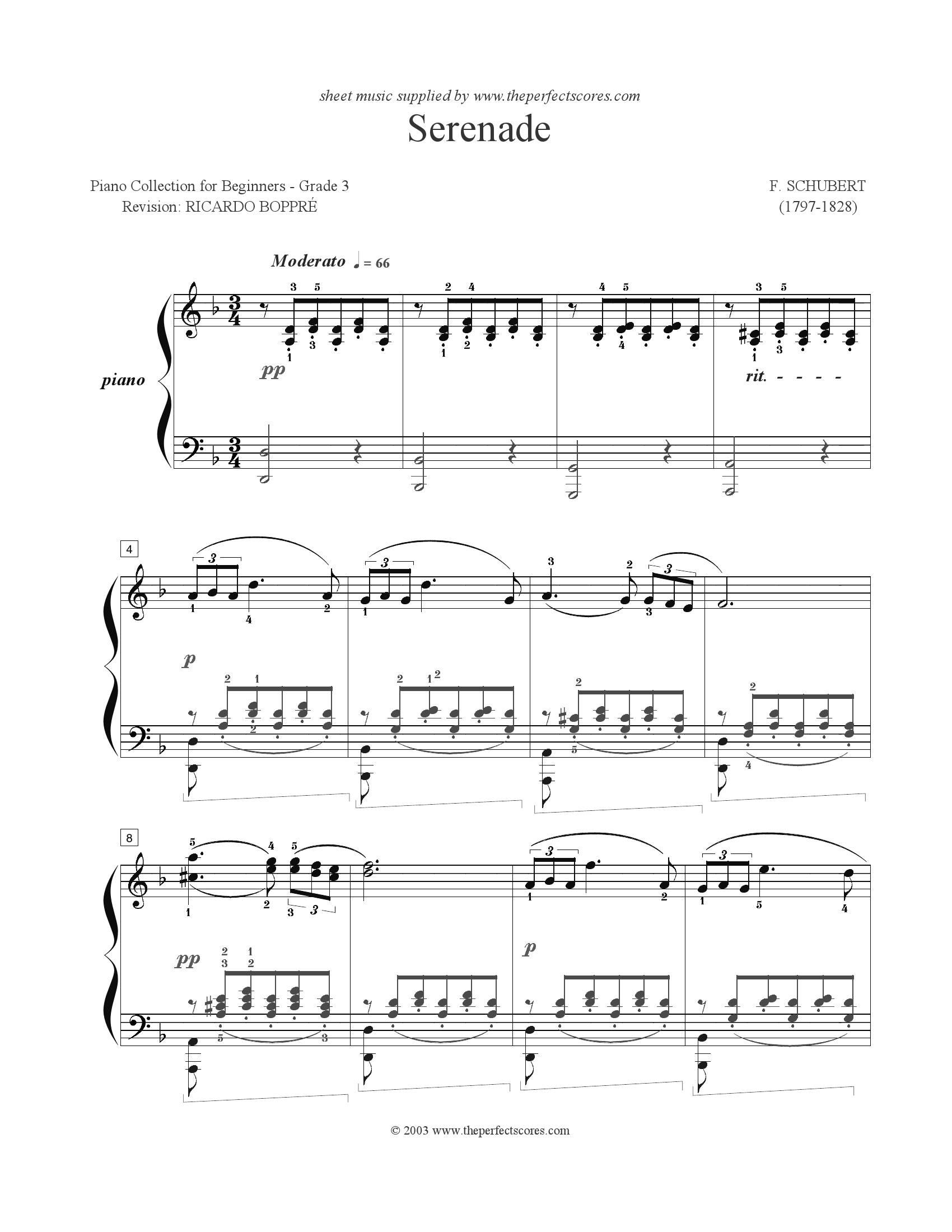 Schubert Serenade1 - نت آهنگ Serenade از Schubert