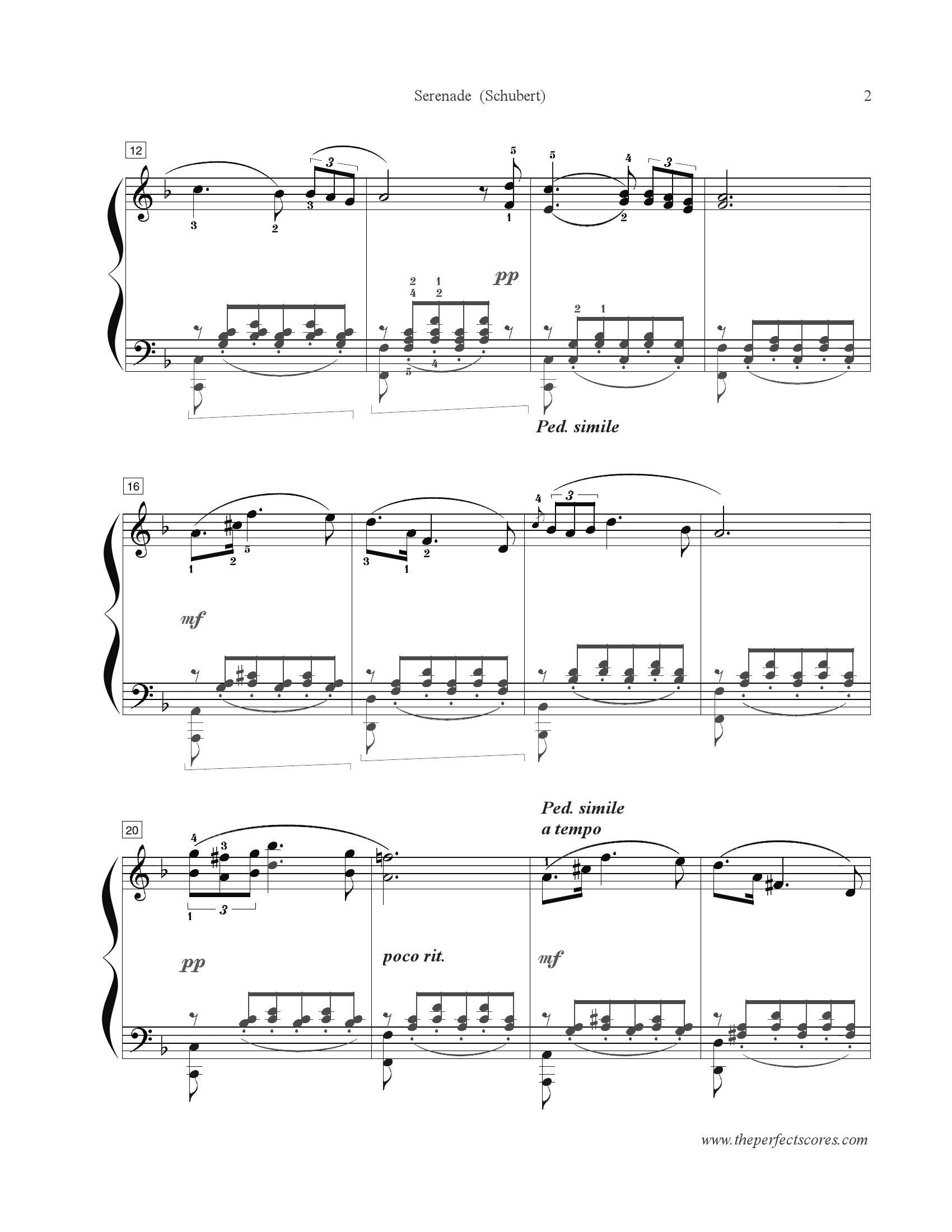 Schubert Serenade2 - نت آهنگ Serenade از Schubert