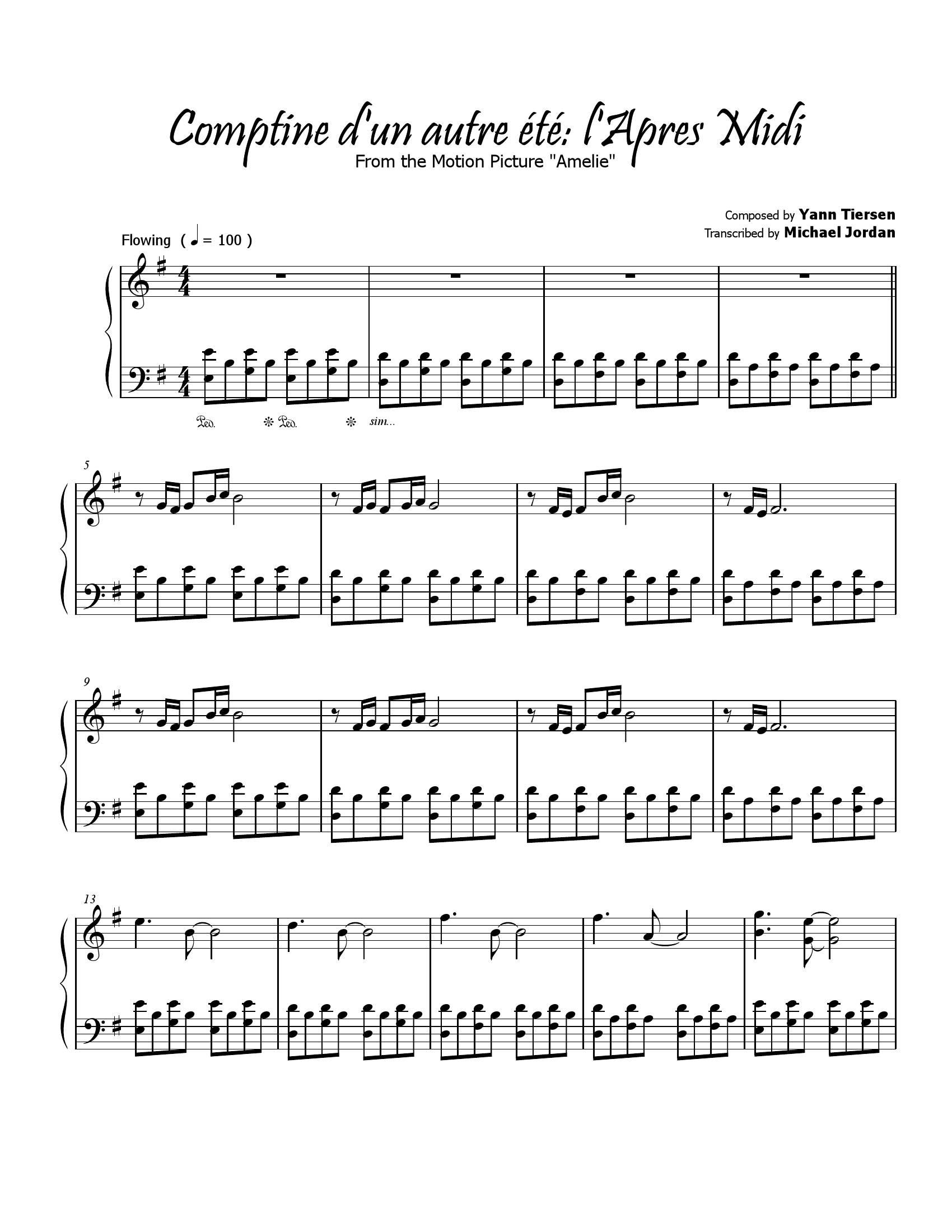 Yann tiersen Comptine autre ete1 - نت آهنگ Comptine autre ete از Yann tiersen