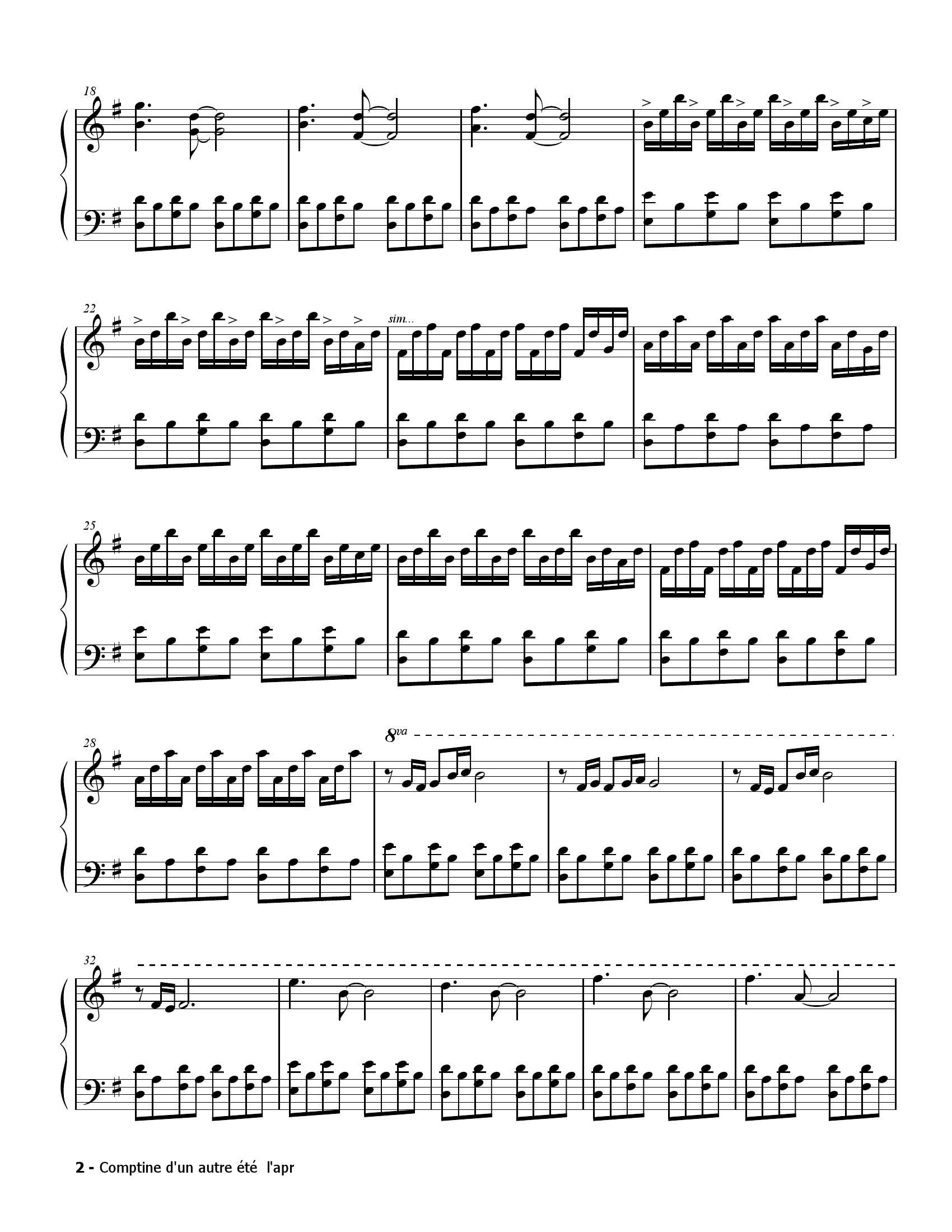 Yann tiersen Comptine autre ete2 - نت آهنگ Comptine autre ete از Yann tiersen