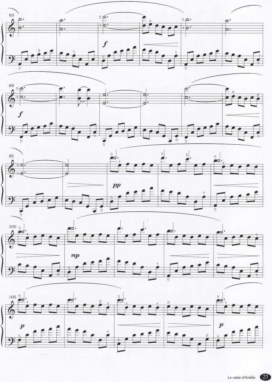Yann tiersen La Valse dAmelie4 - نت آهنگ La Valse d'Amélie از Yann tiersen